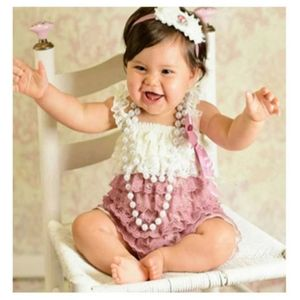 🔥SALE🔥Baby girl lace ruffle romper with bow